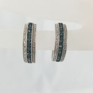 Rhodium O/SS Blue & White Diamond Earrings